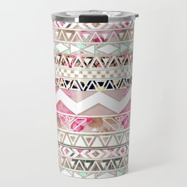 Aztec Spring Time! | Girly Pink White Floral Abstract Aztec Pattern Travel Mug