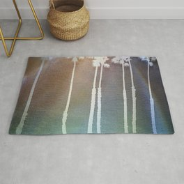 Sunny Palm Trees Turquoise Lights Rug
