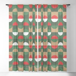 Christmas Geo // small print Sheer Curtain