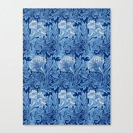 Jacobean Flower Damask, Cobalt and Light Blue Canvas Print
