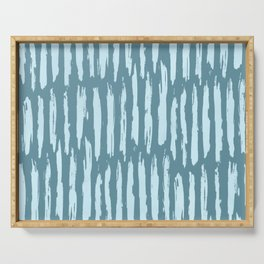 Vertical Dash Turquoise on Teal Blue Serving Tray