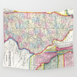 Vintage Map of Illinois (1861) Wall Tapestry