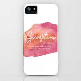 Gumption Definition - Word Nerd - Pink Watercolor iPhone Case