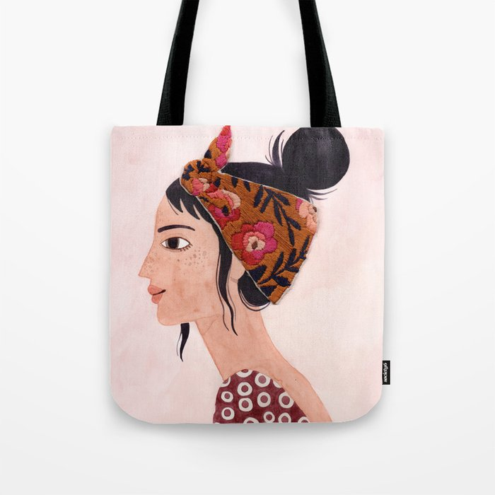 Embroidered scarf Tote Bag