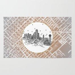 Dallas, Texas City Skyline Illustration Drawing Rug