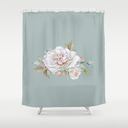 Watercolor White Rose Sprig Shower Curtain