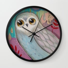 Winter Owl by cj metzger Wall Clock