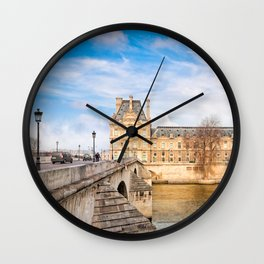 Overlooking Le Pont Royal To The Louvre In Paris Wall Clock