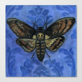 """A Victorian Deaths-Head"", Deaths-Head Hawkmoth Portrait Canvas Print"