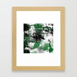 Abstract Black & Green Framed Art Print
