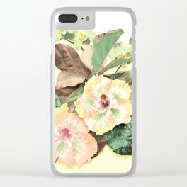 Tropical Botanical Yellow Clear iPhone Case