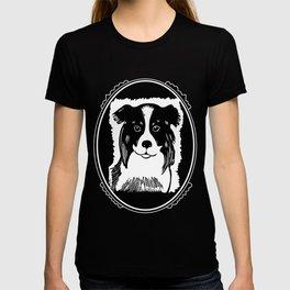 Border Collie Deco Border Black & White Art T-shirt