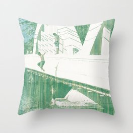 Bridge Jumping Throw Pillow