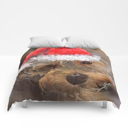 Penny the Yorkipoo with Santa Hat Comforters