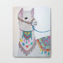 Colorful Llama Metal Print