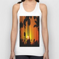 striped Tank Tops featuring Striped Sunset by Flattering Images