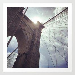 Dramatic Brooklyn Bridge New York Art Print
