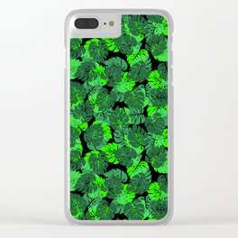 Big Monstera Tropical Leaf Hawaii Rain Forest Black and Green Clear iPhone Case