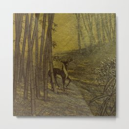 Bamboo Forest in Gold and Burnt Umber Metal Print