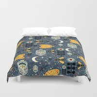 bugs Duvet Covers featuring Midnight Bugs  by Carly Watts