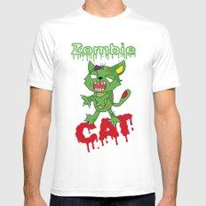 Zombie cat Mens Fitted Tee MEDIUM White