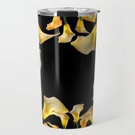 Golden Calla Lilies Black Garden Art Travel Mug