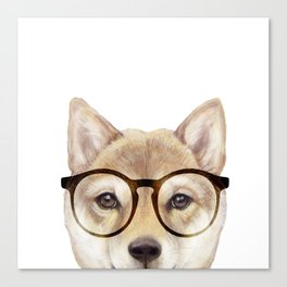 Shiba inu with glasses Dog illustration original painting print Canvas Print