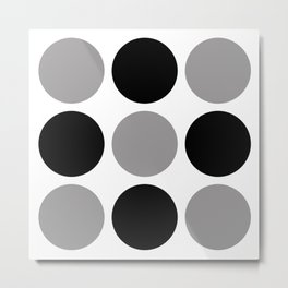 Mid Century Modern Polka Dot Pattern 9 Black and Gray Metal Print