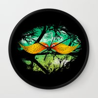 mustache Wall Clocks featuring mustache by sustici