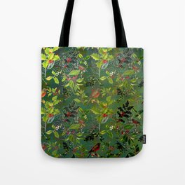 Christmas Pattern with Green Background Tote Bag