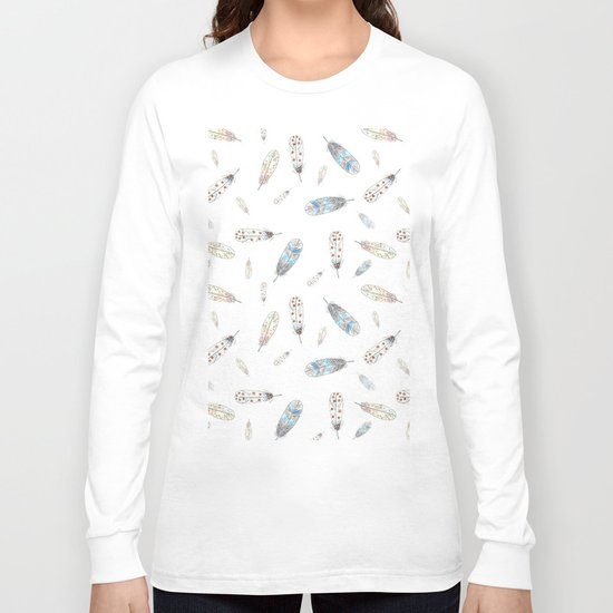 Watercolor feathers print Long Sleeve T-shirt