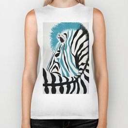 punk rock zebra Biker Tank