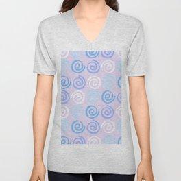 Lavender white blue violet aqua geometrical swirls pattern Unisex V-Neck
