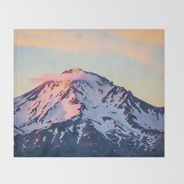 Mount Shasta Sunset Glow Throw Blanket