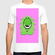 One Eyed Hairy Monster in Green White MEDIUM Mens Fitted Tee