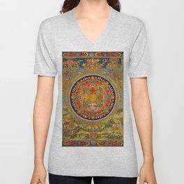 Manjushri Meditation Gold Thangka Mandala Unisex V-Neck
