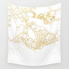 SINGAPORE CITY STREET MAP ART Wall Tapestry