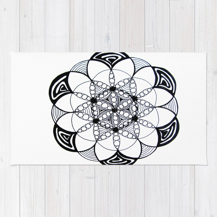 Geometric Sacred Geometry Flower of Life Pattern Mandala Rug