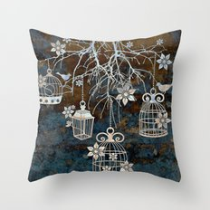 Bird Cage Chandelier Throw Pillow