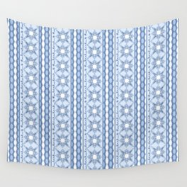 Kitty in a Blue Shoe Lace Wall Tapestry