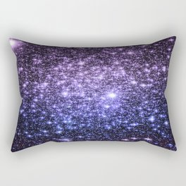 Galaxy Sparkle Stars Purple Periwinkle Blue Rectangular Pillow