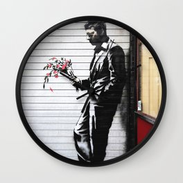 Banksy, Man with flowers Wall Clock