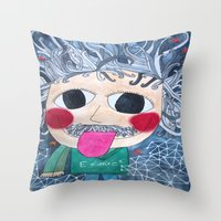 einstein Throw Pillows featuring Einstein by fieltrovitz