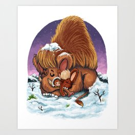 Woolly Mammoths Art Print
