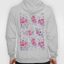 Pink lavender watercolor hand painted roses floral Hoody