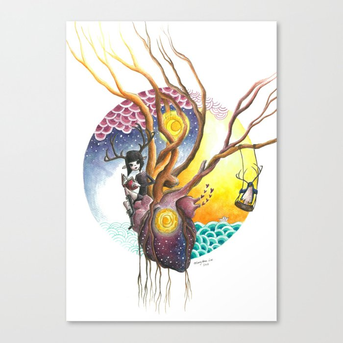 Antlered Girl And Penguin With Heart And Trees Sun Moon Sky And