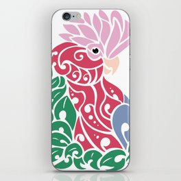 Galah cockatoo tribal tattoo pink rose-breasted aussie parrot iPhone Skin