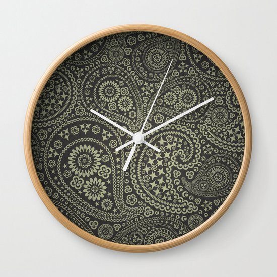 Paisley Stars Wall Clock