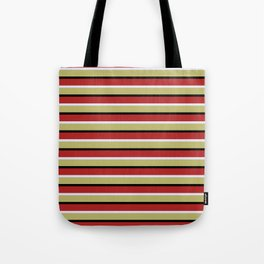 Red, Lavender, Dark Khaki & Black Lined Pattern Tote Bag