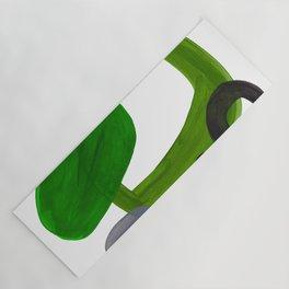 Mid Century Vintage 70's Design Abstract Minimalist Colorful Pop Art Olive Green Dark Green Grey Yoga Mat